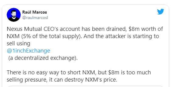 $8m worth of NXM Tokens stolen